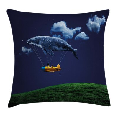 Whale Nostalgic Airship Mystic Square Pillow Cover Size: 18 x 18