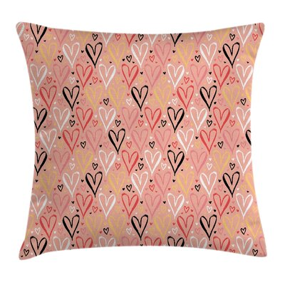 Heart Valentines Love Square Pillow Cover Size: 16 x 16