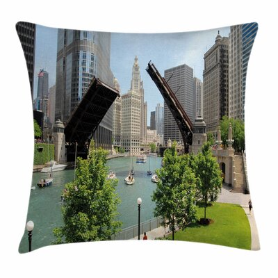 United States Downtown Chicago Square Pillow Cover Size: 18 x 18