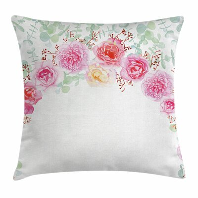 Floral Wreath Square Pillow Cover Size: 16