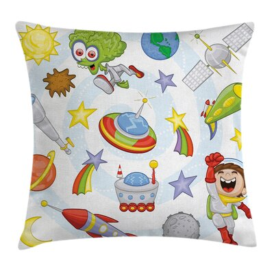Cartoon Kids Outer Space Earth Square Pillow Cover Size: 18