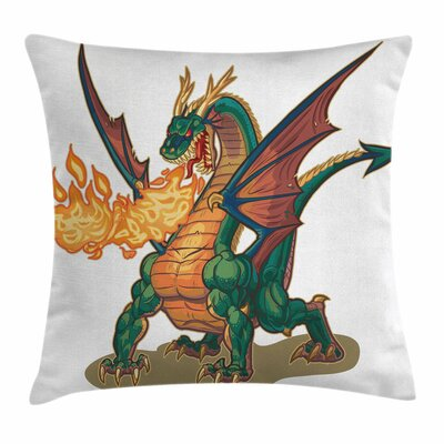 Dragon Mythical Monster Mascot Square Pillow Cover Size: 18 x 18