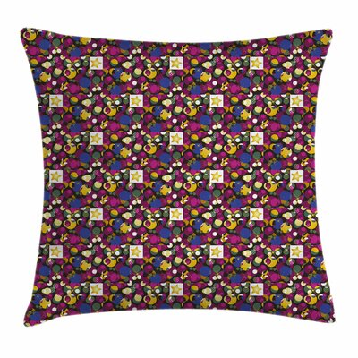 Abstract Stars Circles Squares Square Pillow Cover Size: 24 x 24