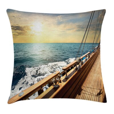 Nautical Sailboat Sunset Sea Square Pillow Cover Size: 24 x 24