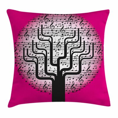 Music Decor Tree Symbols Artsy Square Pillow Cover Size: 24 x 24