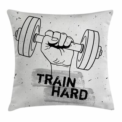 Fitness Dumbbell Hand Sketch Square Pillow Cover Size: 16 x 16