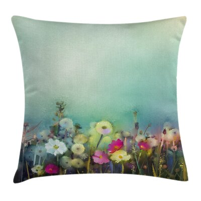 Floral Dandelion Daisy Poppy Square Pillow Cover Size: 18 x 18
