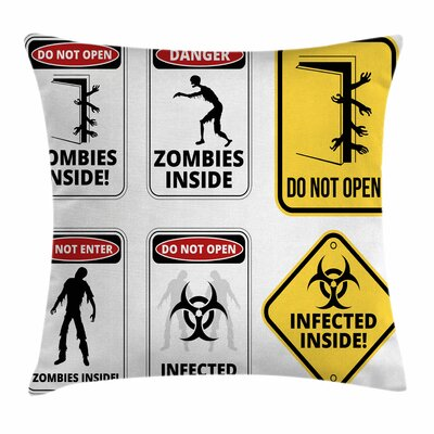 Zombie Decor Warning Signs Evil Square Pillow Cover Size: 20 x 20