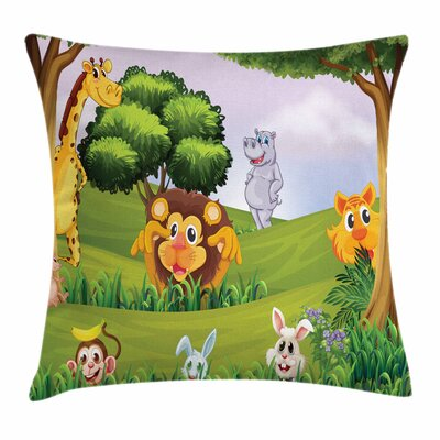 Zoo Animals Pillow Cover Size: 18