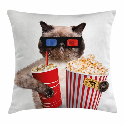 Movie Theater Decor Cat Popcorn Square Pillow Cover Size: 18 x 18