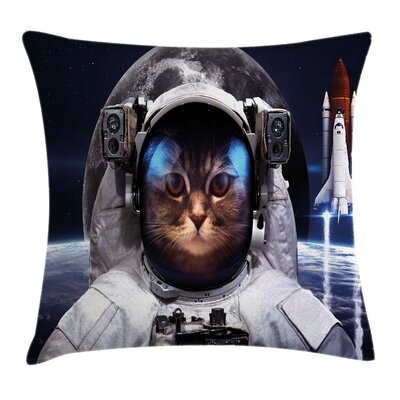 Space Cat Space Traveller Pet Square Pillow Cover Size: 24 x 24