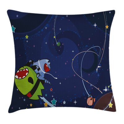 Space Cartoon Kitten Aliens Square Pillow Cover Size: 20 x 20