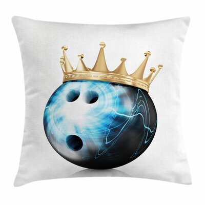Bowling Party Ball with Crown Square Pillow Cover Size: 16 x 16