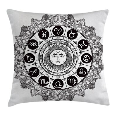 Astrology Mandala Ethnic Kitsch Square Pillow Cover Size: 24 x 24