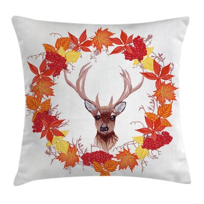 Deer Autumn Leaves Wreath Art Square Pillow Cover Size: 18 x 18