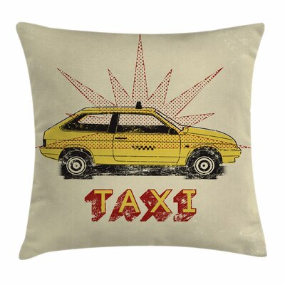 Pop Art Taxi Cab Vintage Square Pillow Cover Size: 18 x 18