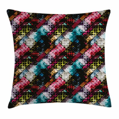 Abstract Grunge Modern Pattern Square Pillow Cover Size: 24
