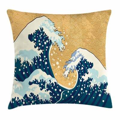Japanese Wave Ocean Wind Art Square Pillow Cover Size: 18 x 18, Color: Orange
