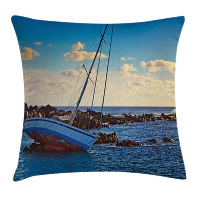 Nautical Yacht on Rocks Harbor Square Pillow Cover Size: 18 x 18