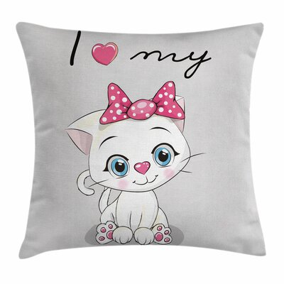 Kitten Cute Cartoon Cat Pet Square Pillow Cover Size: 18 x 18