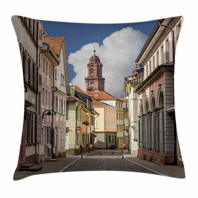 European Heidelberg Streets Square Pillow Cover Size: 24 x 24