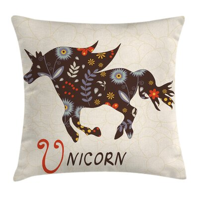 Unicorn Floral Boho Vintage Square Pillow Cover Size: 18 x 18
