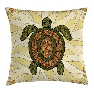 Boho Turtle Zentangle Artwork Square Pillow Cover Size: 16 x 16