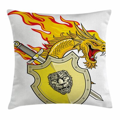 Dragon Legendary Creature Hero Square Pillow Cover Size: 18 x 18