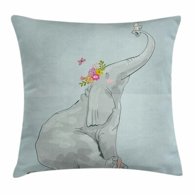 Elephant Mouse Friends Square Pillow Cover Size: 18 x 18