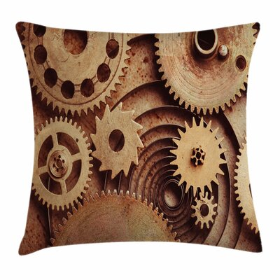 Clocks Gears Square Pillow Cover Size: 16 x 16