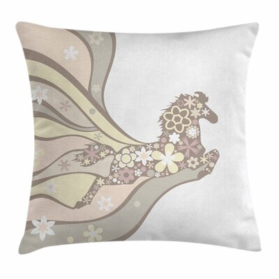 Nature Floral Horse Galloping Square Pillow Cover Size: 18