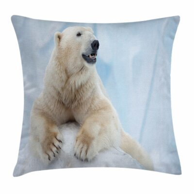 Zoo Polar Bear on Ice Square Pillow Cover Size: 24 x 24