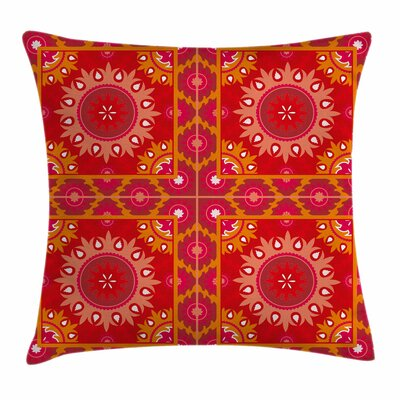 Oriental Asian Tile Square Pillow Cover Size: 18 x 18