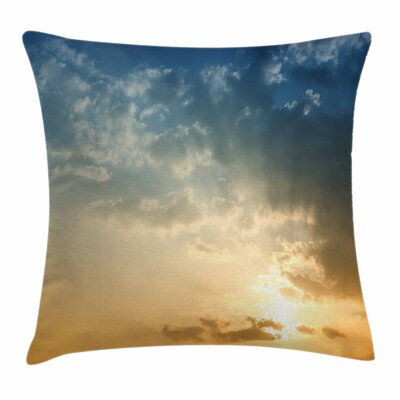Sky with Sun Rays Dusk Square Pillow Cover Size: 16 x 16