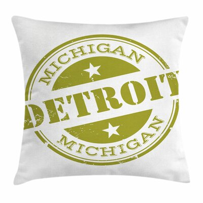Detroit Decor Grunge Stamp Square Pillow Cover Size: 16 x 16