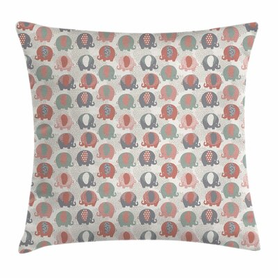 Elephant Floral Fauna Square Pillow Cover Size: 24 x 24