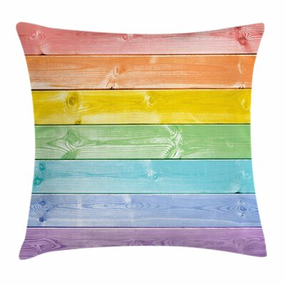 Pastel Wooden Planks Rustic Square Pillow Cover Size: 20 x 20