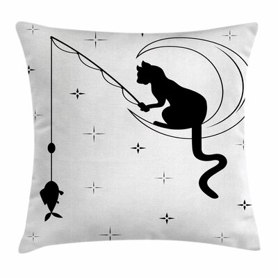 Cat Fishing Kitty on Moon Art Square Pillow Cover Size: 16 x 16