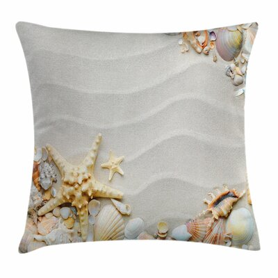 Starfish Decor Sand Square Pillow Cover Size: 16 x 16