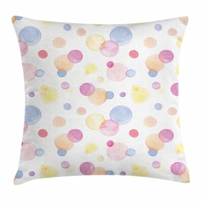 Pastel Watercolor Drops Artful Square Pillow Cover Size: 16 x 16