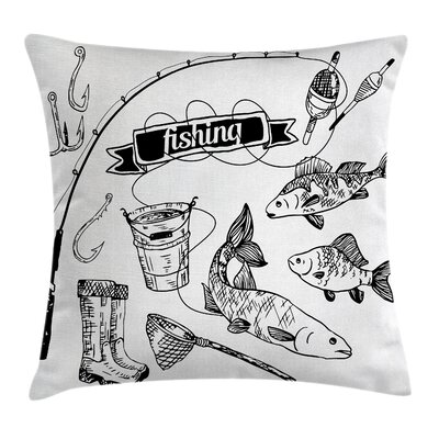 Fish Hand Drawn Animals Artsy Square Pillow Cover Size: 20 x 20