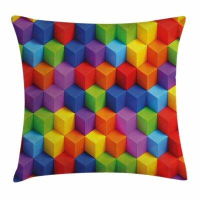 Geometric Art Cube Square Pillow Cover Size: 16 x 16