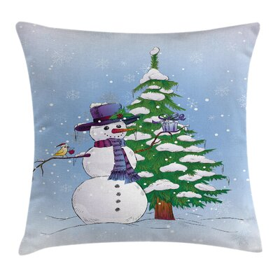 Christmas Snowman and Tree Square Pillow Cover Size: 16 x 16