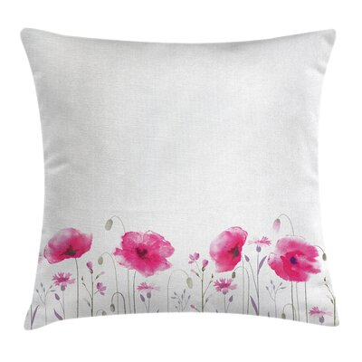 Floral Poppy Flowers Art Square Pillow Cover Size: 24 x 24