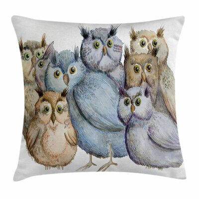 Owl Family Portrait Art Square Pillow Cover Size: 16 x 16