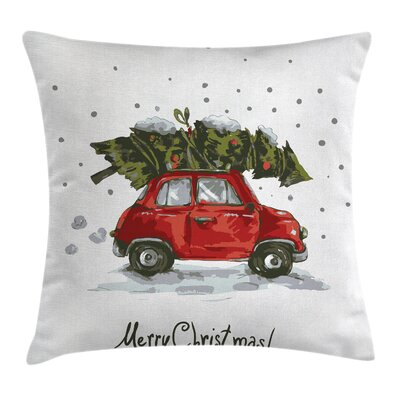 Christmas Retro Car with Tree Square Pillow Cover Size: 20 x 20