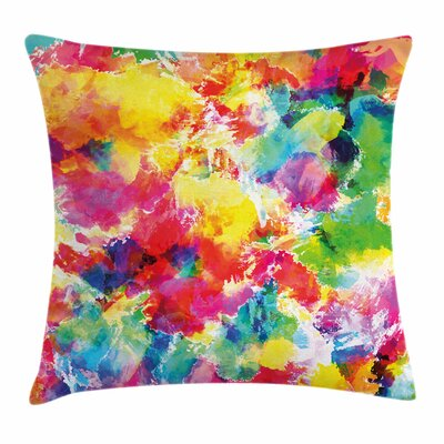 Pastel Vivid Messy Watercolors Square Pillow Cover Size: 16 x 16