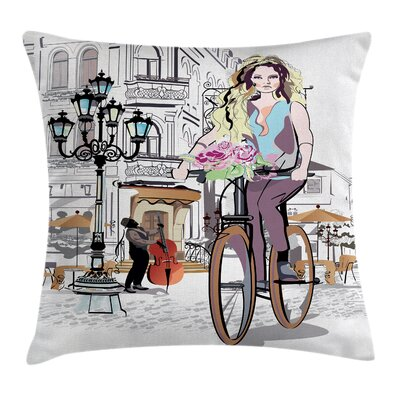 Girl Lady Rides Bicycle Roses Square Pillow Cover Size: 24 x 24