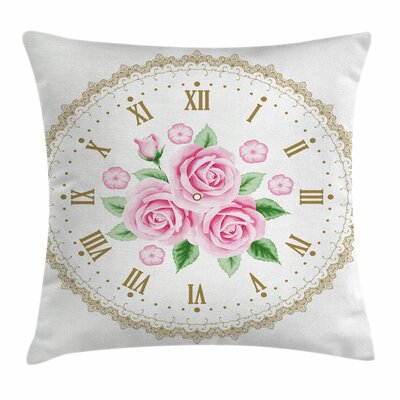 Shabby Elegance Decor Vintage Clock Square Pillow Cover Size: 20 x 20