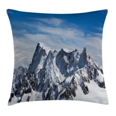 Nature Mountain Peak Scenery Square Pillow Cover Size: 24 x 24
